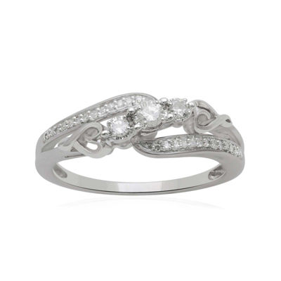Hallmark Diamonds 1/5 CT. T.W. Diamond Heart Sterling Silver Ring