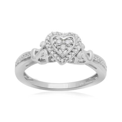 Hallmark Diamonds 1/7 CT. T.W. Diamond Heart Sterling Silver Ring
