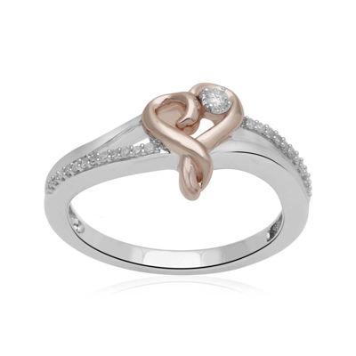Hallmark Diamonds 1/10 CT. T.W. Diamond Heart Two-Tone Ring