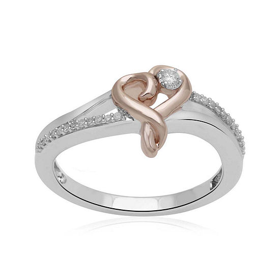 Hallmark Diamonds 1/10 CT. T.W. Genuine Diamond Heart Two-Tone Ring