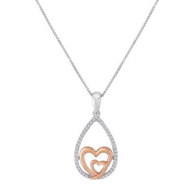ForeverMine® 1/10 CT. T.W. Diamond Two-Tone Heart Pendant
