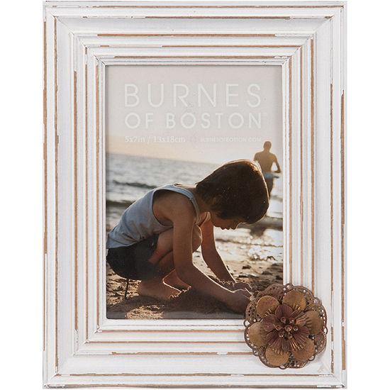 "Burnes of Boston® Distressed Wood with Flower Appliqué 5x7"" Picture Frame"