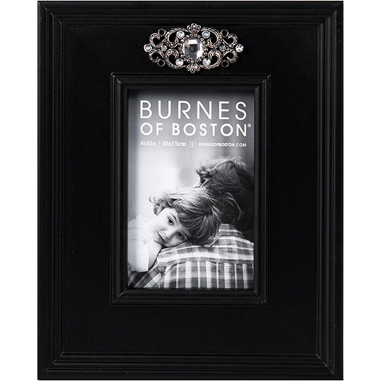 """Burnes of Boston® Wooden with Jewel Appliqué 4x6"""" Picture Frame"""