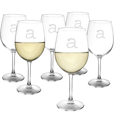 Cathy's Concepts Set of 6 Personalized White Wine Glasses