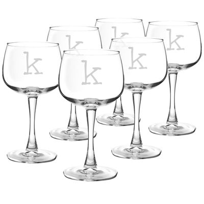 Cathy's Concepts Set of 6 Personalized Red Wine Glasses