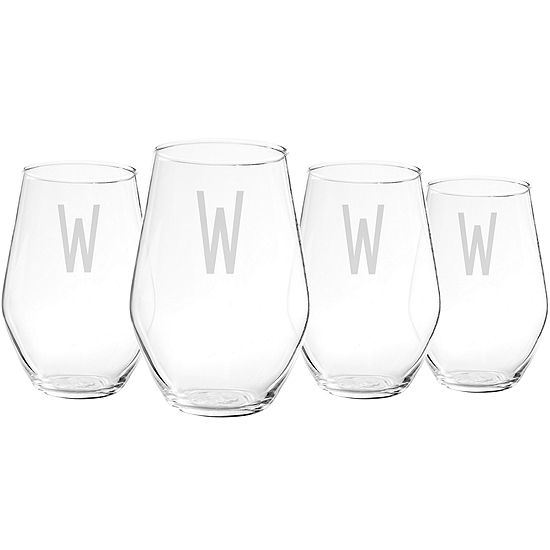 Cathy's Concepts Set of 4 Personalized Contemporary Stemless Wine Glasses