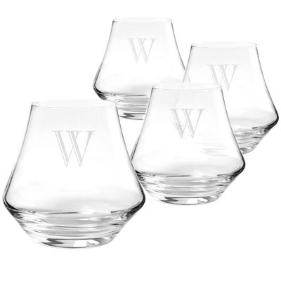 Cathy's Concepts Set of 4 Personalized Contemporary Whiskey Glasses
