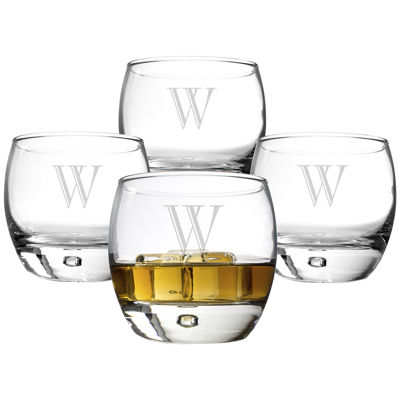 Cathy's Concepts Set of 4 Personalized Heavy Base Whiskey Glasses