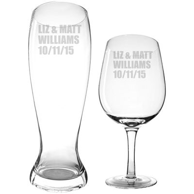 Cathy's Concepts Personalized XL Wine Glass and Pilsner Glass Set