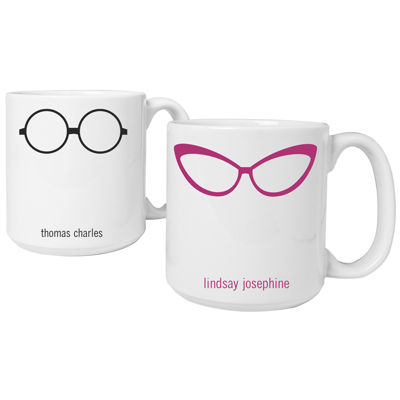 Cathy's Concepts Geek Glasses Set of 2 Personalized Large Coffee Mugs