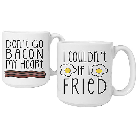 Cathy's Concepts Bacon and Eggs Set of 2 Large Coffee Mugs