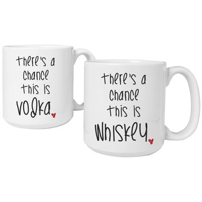 """Cathy's Concepts """"There's a Chance"""" Set of 2 Personalized Large 20-oz. Coffee Mugs"""