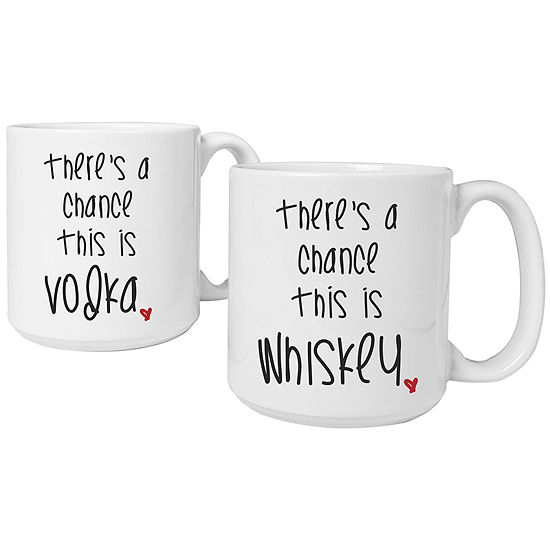 "Cathy's Concepts ""There's a Chance"" Set of 2 Personalized Large 20-oz. Coffee Mugs"