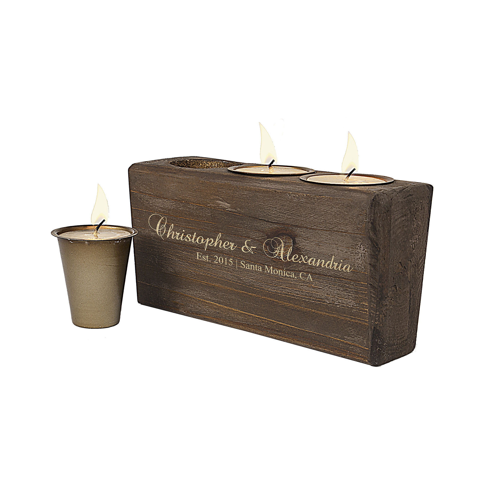 Cathy's Concepts Personalized Rustic Wood Sugar Mold Candle Holder