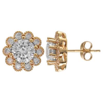 Gold Reflection Flower Stud Earrings