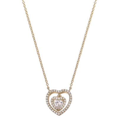 Gold Reflection Womens Heart Pendant Necklace