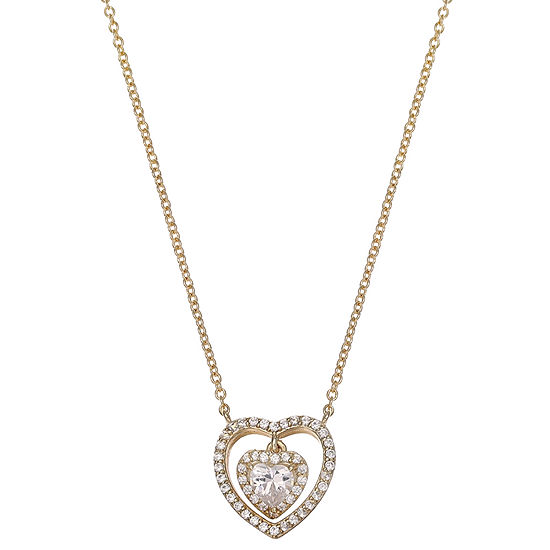 Gold Reflection Cable Heart Pendant Necklace