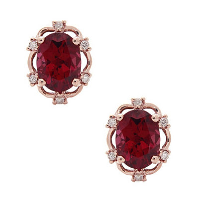 LIMITED QUANTITIES! Diamond Accent Oval Red Rhodolite 10K Gold Stud Earrings