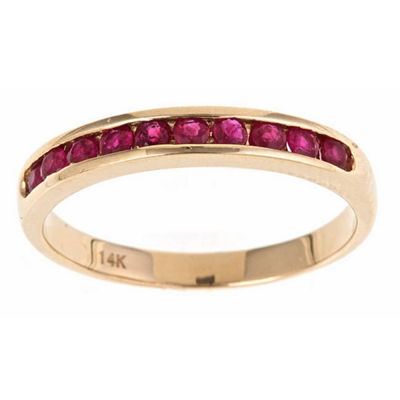 LIMITED QUANTITIES! Red Lead Glass-Filled  Ruby Band in 10K Gold