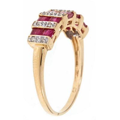 LIMITED QUANTITIES! Diamond Accent Red Ruby 10K Gold Band