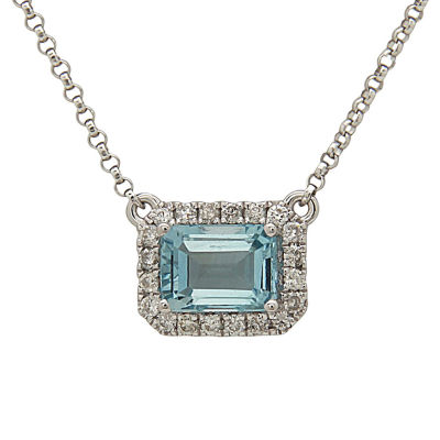 LIMITED QUANTITIES! Womens 1/6 CT. T.W. Blue Aquamarine 14K Gold Pendant Necklace