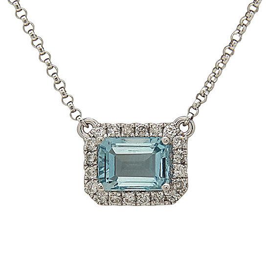 LIMITED QUANTITIES! Womens 1/6 CT. T.W. Blue Aquamarine 14K Gold Pendant Necklace