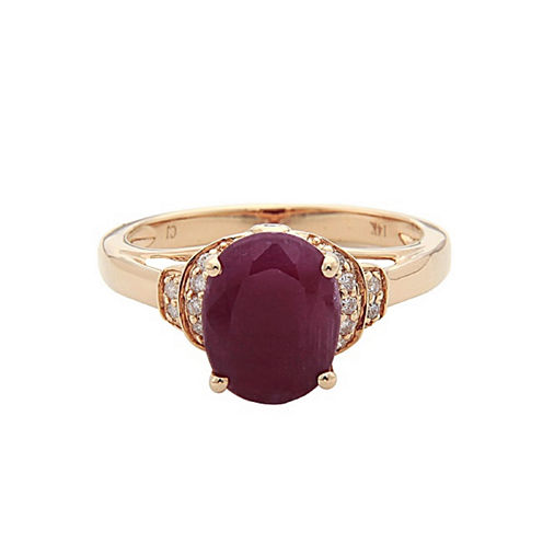 LIMITED QUANTITIES! Red Lead-glass Filled Ruby & 1/10 CT. T.W. Diamond 14K Yellow Gold Cocktail Ring