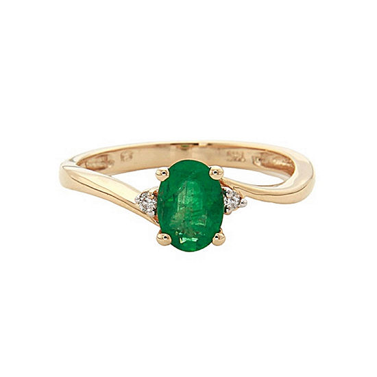 LIMITED QUANTITIES! Diamond Accent Green Emerald 14K Gold Cocktail Ring