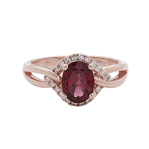 LIMITED QUANTITIES! 1/5 CT. T.W. Red Rhodolite 14K Gold Cocktail Ring