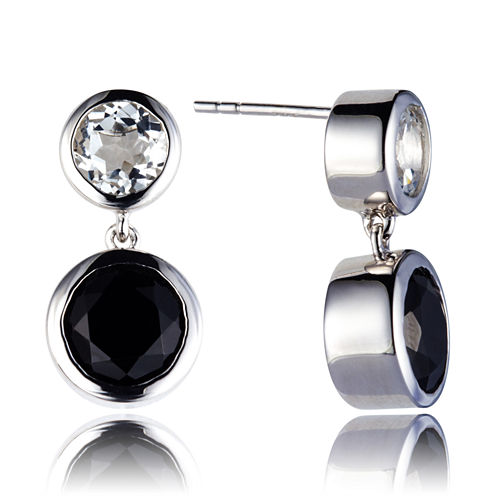 Black Spinel Sterling Silver Drop Earrings