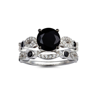 Womens Black Spinel Sterling Silver Cocktail Ring
