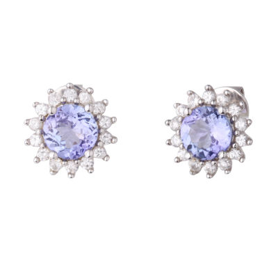 Purple Tanzanite Sterling Silver 10mm Stud Earrings
