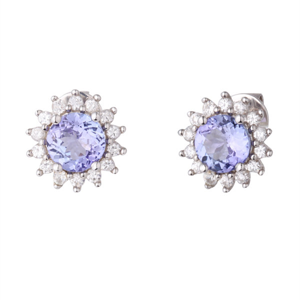 Round Purple Tanzanite Sterling Silver Stud Earrings