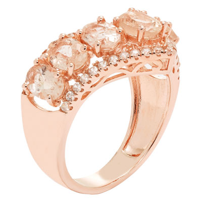 Womens Pink Morganite 14K Gold Over Silver Cocktail Ring