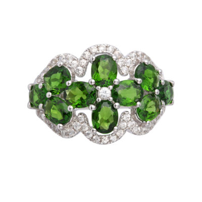 Womens Green Chrome Diopside Sterling Silver Side Stone Ring