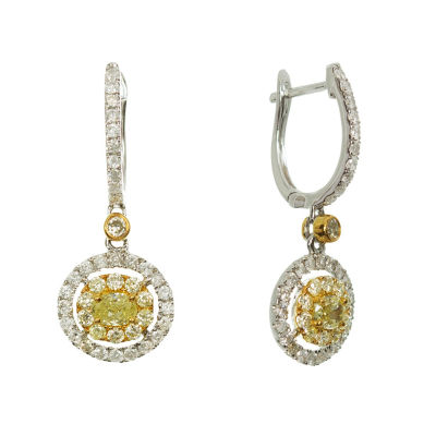 1 1/3 CT. T.W. Genuine Yellow Diamond 18K Gold Drop Earrings