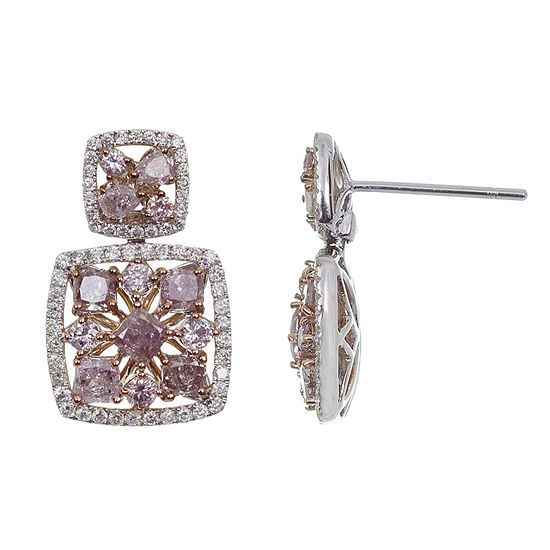 2 1/3 CT. T.W. Genuine Pink Diamond 18K Gold Drop Earrings