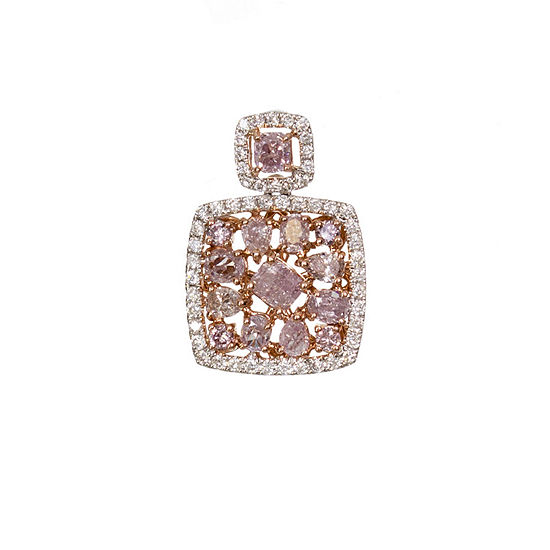 Womens 5/8 CT. T.W. Genuine Pink Diamond 18K Gold Pendant