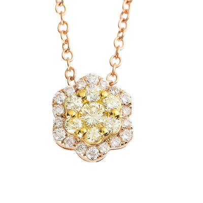 Womens 1/2 CT. T.W. Genuine Yellow Diamond 18K Gold Pendant