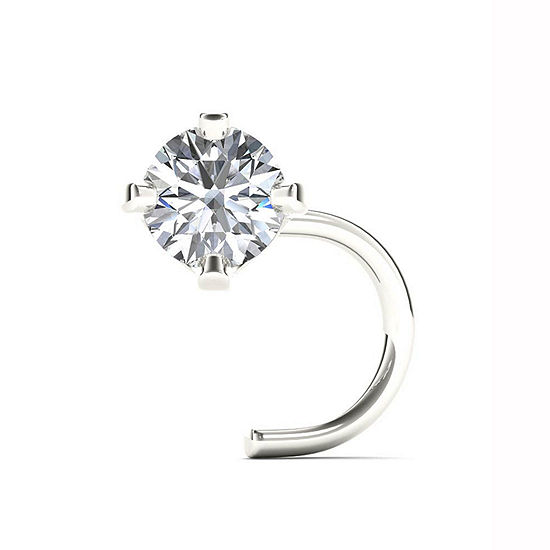14K White Gold Diamond-Accent 1.8mm Stud Nose Ring