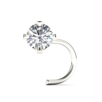 14K White Gold Diamond-Accent 1.8mm Nose Screw Ring