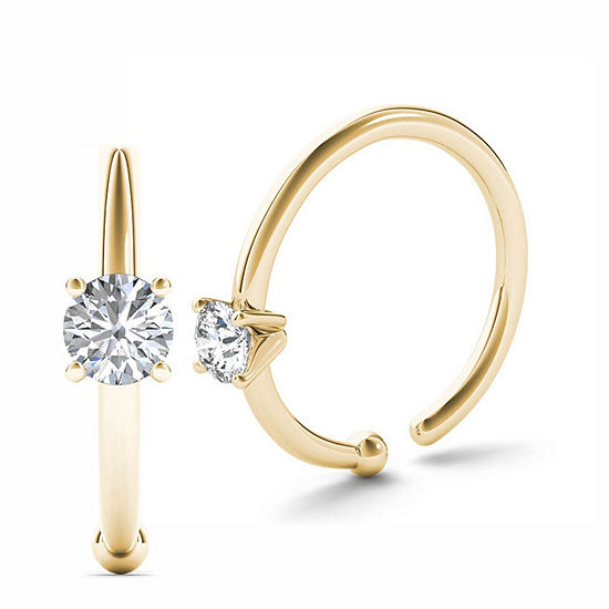 14K Yellow Gold Diamond-Accent 3mm Hoop Nose Ring