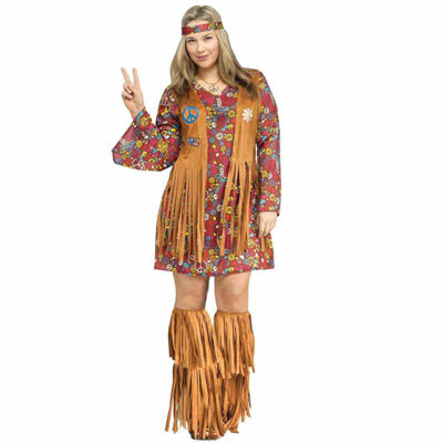Womens Plus Size Peace and Love Hippie Costume - 16-20W
