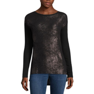 a.n.a Long Sleeve Round Neck Animal T-Shirt-Womens Petites