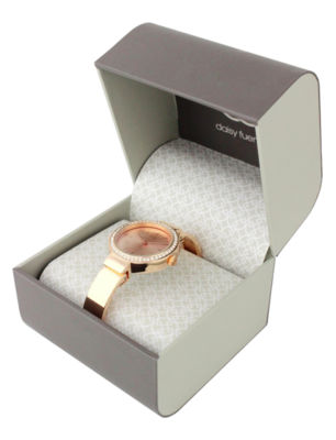 Daisy Fuentes Womens Rose Goldtone Bangle Watch-Df124rg
