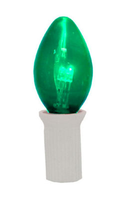 Pack 25 Commercial Transparent Green 3-LED C7 Replacement Christmas Light Bulbs