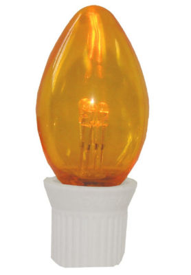 Pack 25 Commercial Transparent Orange 3-LED C7 Replacement Christmas Light Bulbs