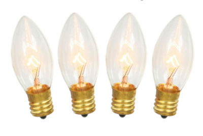 Pack of 4 Transparent Clear C7 1/2 Christmas Replacement 5W Light Bulbs