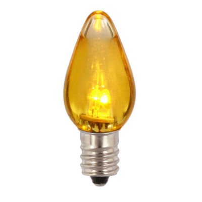 Pack of 25 Yellow Amber LED Transparent Twinkle C9Christmas Replacement Bulbs