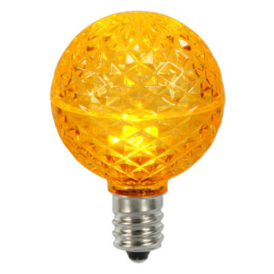 Club Pack of 25 LED G50 Amber Yellow Replacement Christmas Light Bulbs -E17 Base